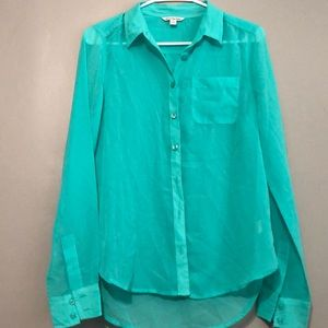 turquoise sheer button down american eagle
